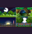 four scenes at night time vector image vector image