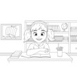 girl sitting at her desk at school vector image