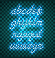 glowing blue neon lowercase script font vector image
