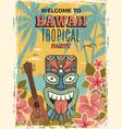 hawaii poster summer dance party invitation tiki vector image vector image