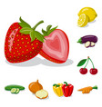 isolated object of vegetable and fruit symbol vector image vector image