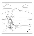 KId on playground coloring book design vector image vector image