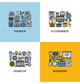 Line icons of finance e-commerce startup business vector image vector image