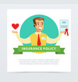 Manager or agent with a contract insurance vector image