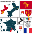 Map of Languedoc Roussillon vector image vector image