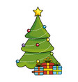 merry christmas pine tree with gifts vector image