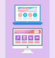 online educational program internet pages set vector image
