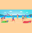 people have fun at beach vector image vector image