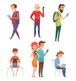 people with gadgets male female kids student vector image