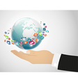 Person holding globe on the hand vector image vector image