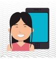 person with smartphone isolated icon design vector image