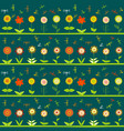rows of flowers and stylized dragonflies vector image vector image