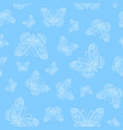 seamless pattern of white butterfly outline vector image vector image