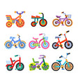 set of nine children s bicycles children s vector image vector image