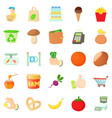shop with vegetables icons set cartoon style vector image