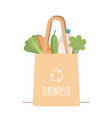 shopping reusable grocery cloth bag with vector image