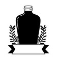 silhouette long mason jar with branches and ribbon vector image vector image