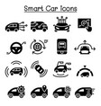 smart car icons set vector image vector image