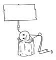 stick man cartoon of men with head placed on the vector image