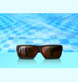 summertime blue water pool with sunglasses vector image