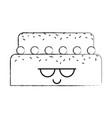 sweet and delicious cake kawaii character vector image vector image