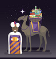 three kings day with king balthazar camel and vector image vector image