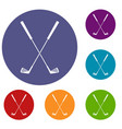 two golf clubs icons set vector image vector image