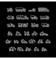 Set line icons of trucks and tractors vector image