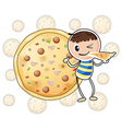 a boy with a slice pizza vector image vector image