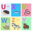alphabet letters u x v w z y set with animal vector image