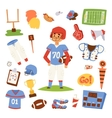 American football player set vector image vector image