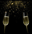 banner with two glasses champagne vector image vector image