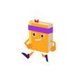 cartoon book character jogging vector image vector image