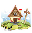 cartoon fairy house on a green hill with arrow vector image