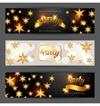 Celebration party banners with golden stars vector image vector image
