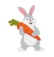 cheerful rabbit with carrot - colorful cartoon vector image