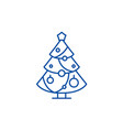 christmas decoration tree line icon concept vector image vector image