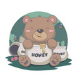 cute bear eat sweet honey with bee flower forest vector image