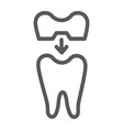 dental crown line icon teeth and dentistry tooth vector image vector image