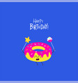 donut birthday card cute funny vector image