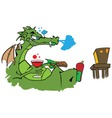 Drawing of a dragon watching tv with a glass of wi vector image