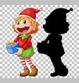 elf holding present box vector image
