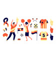 fans accessories isolated flags soccer fan tools vector image