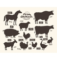 farm animals collection silhouettes such as vector image