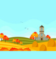 farm village autumn season with hay background vector image vector image