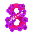 greeting card with number eight consisting of vector image