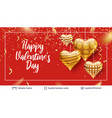 greeting holiday text and golden hearts on red vector image vector image