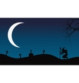 Halloween witch and Crescent moon vector image vector image