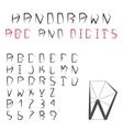 Hand Drawn Alphabet And Digits Pentagonal vector image