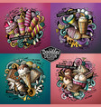 ice cream cartoon doodle set vector image